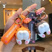 Key-Chain Car-Key-Holder Cartoon Soft Ass Cat for Kids Bag Pendant Rubber Gifts Novelty