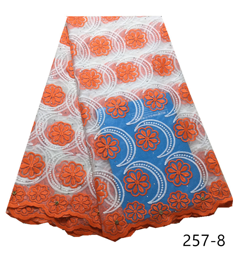 latest design embroidery african lace fabric hot selling milk fiber lace fabric rhinestones with stones 5 yards/pcs for dresses