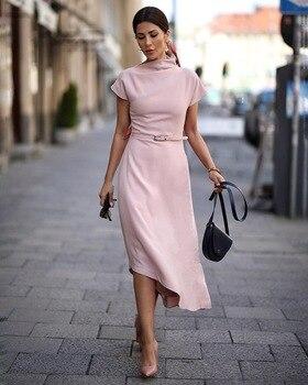 цена STYLISH LADY Elegant Dress 2020 Spring Women Short Sleeve Half Turtleneck Irregular Brief Office Lady Party Dress Femininos онлайн в 2017 году