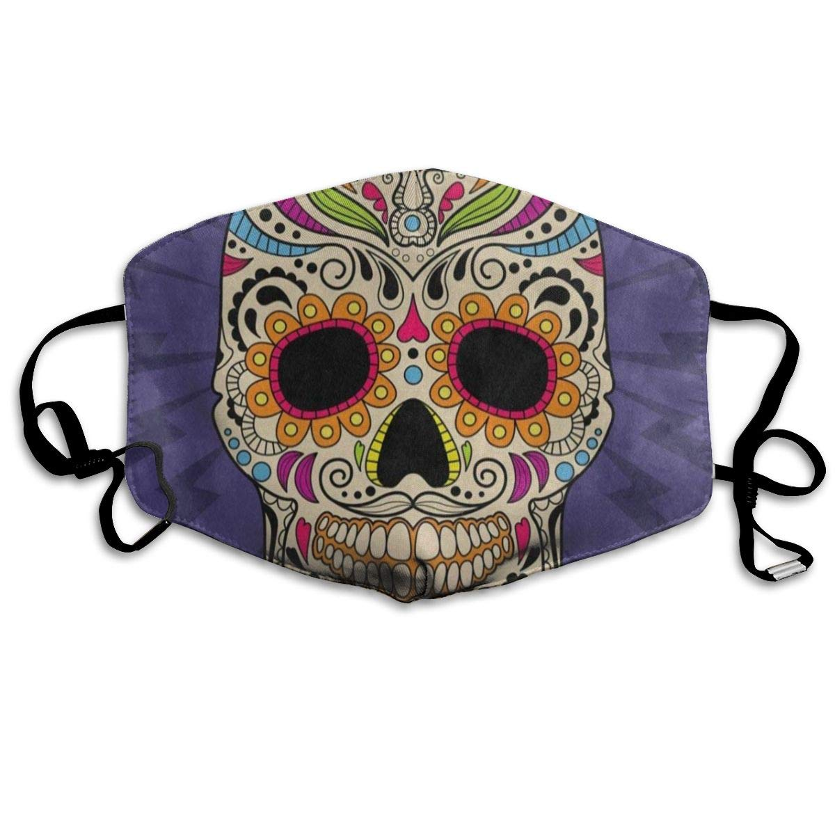 ZHOUSUN Dustproof Mexican Dia De Los Muertos Skull Flower Mouth Cover Mask Protective   Warm Windproof Mask