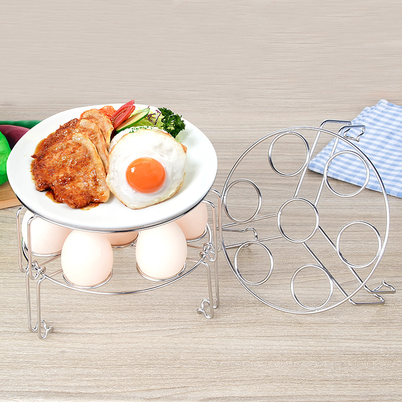 304 Stainless Steel Multi-functional Steamed Egg Rack-Superimposed 7-Hole Egg Shelf Steamed Pork Ribs Steamed Dishes Household K