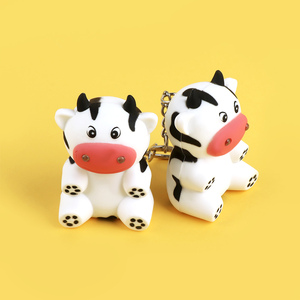 Cartoon Little Cow Animal LED Keychain Keyring with Sound Portable Mini Torch Flashlight For Children Kids Creative Toy