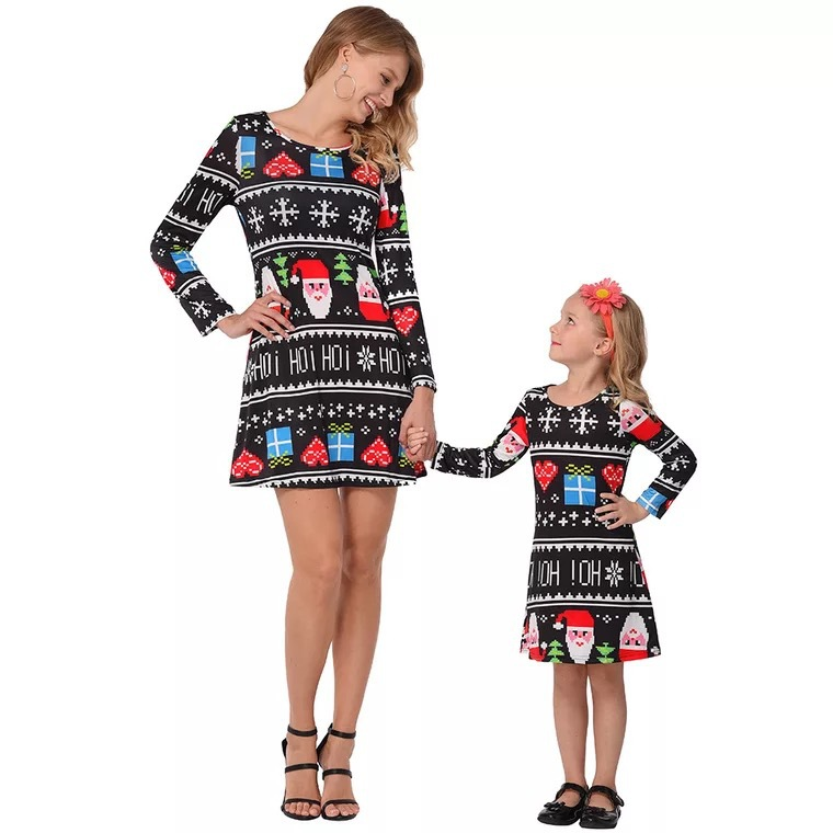 CYSINCOS Christmas Family Matching Outfits Mid-length Dress Cotton Mother Daughter Christmas Snowflake Santa Claus Print Dress