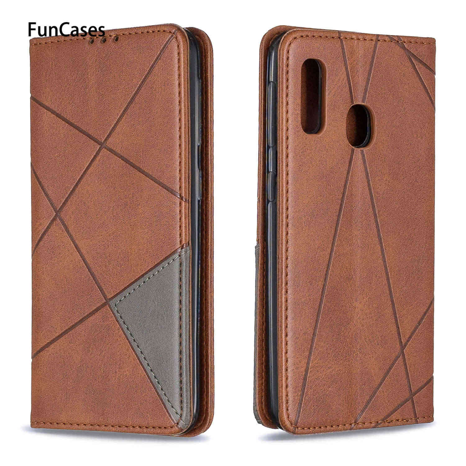 Solid Color PU Leather Wallet Case For armor Samsung A10E Marble Grid Cases sFor Estuche Samsung ajax A20E Capinha back cover
