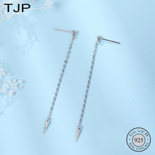 TJP S925 Silver Fashionable Personality Womens Earrings Spike-cone Line Long Ear Nail
