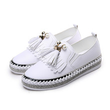 Crystal Small White Leather Shoes Women Tassel Espadrilles Creepers Fishermen Flats Ladies Loafers Handmade Leather Moccasins