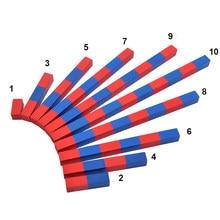 Barra de números vermelho e azul, barra de infância da família, jardim de infância, montessori, auxiliares de ensino, adição e subtração, brinquedo educativo de matemática