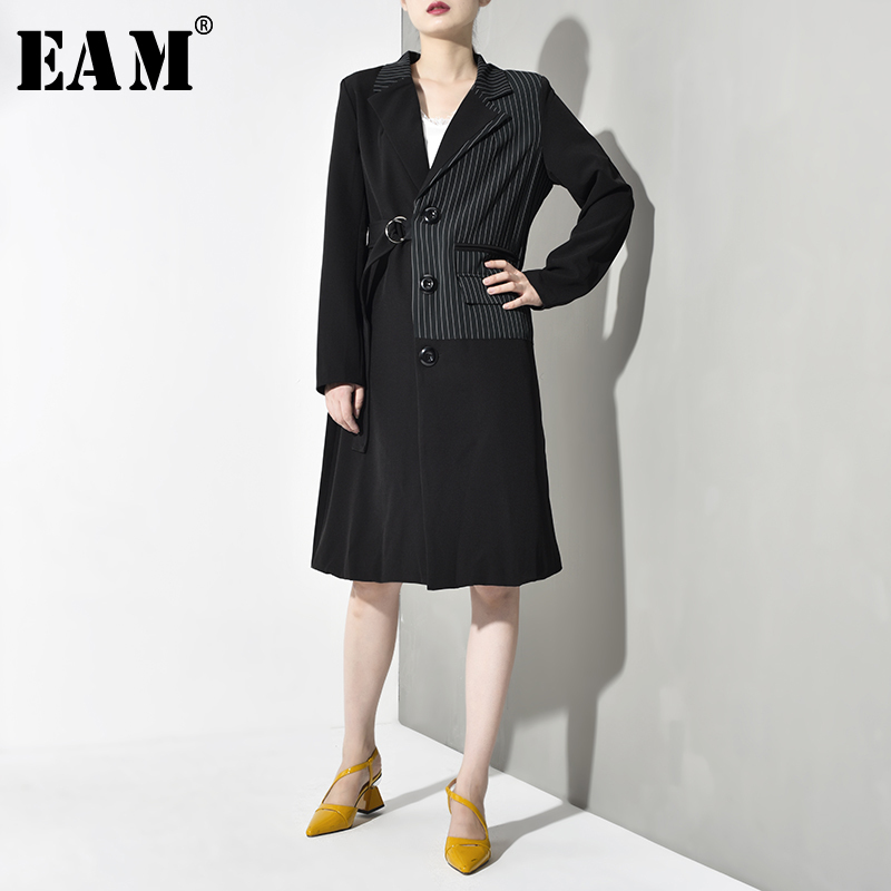 [EAM] Women Black Striped Bandaeg Trench New Lapel Long Sleeve Loose Fit Windbreaker Fashion Tide Spring Autumn 2020 JR1300
