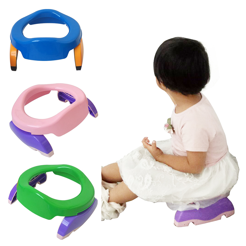 Portable Baby Chamber Pots Foldaway Infant Toilet Training Seat Travel Potty Rings With Urine Bag Lightweight Toilet For Kids