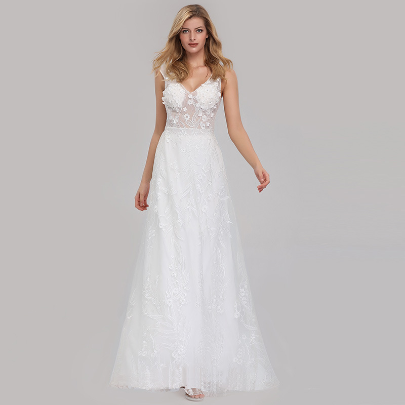 White Lace With With Appliques V Neck Sleeveless   Evening     Dress   Long Abiti Da Cerimonia Da Sera