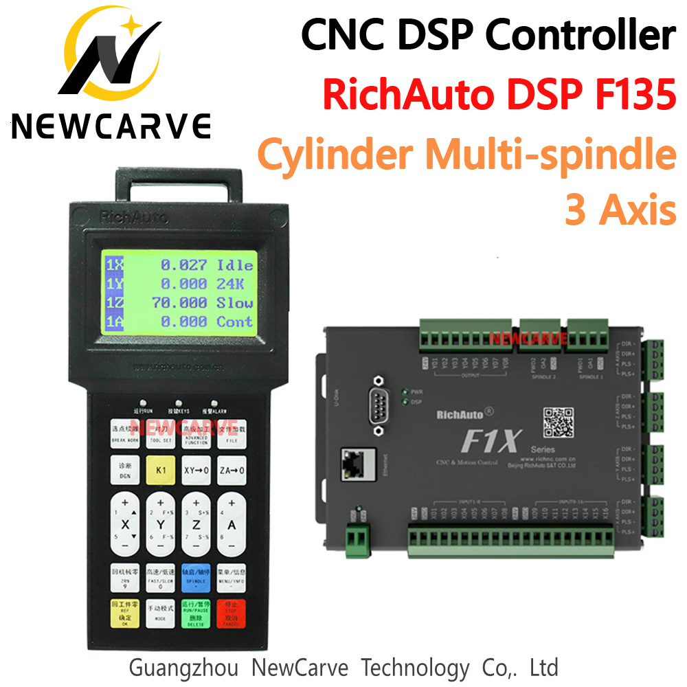 CNC Cylinder Multi-Spindle DSP Controller 3 Axis Control System RichAuto DSP F135 Replace DSP A15 B15 For Cnc Engraver NEWCARVE