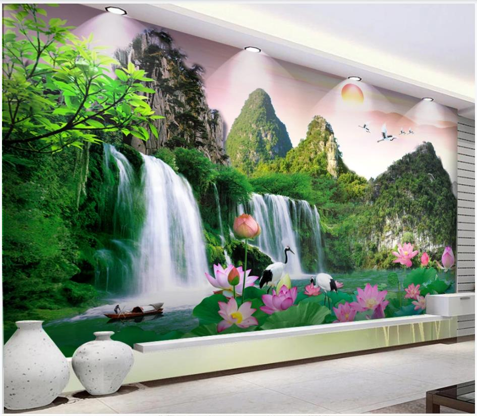 Custom Photo Wallpapers 3d Murals Wallpaper For Walls 3 D Idyllic Landscape, Alpine Waterfall, Landscape Painting Wall Papers