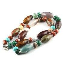 Wholesale Hot Natural Stone Men Necklace 24 Colors Agates Pendant Quartz Long Jewelry18 Inches
