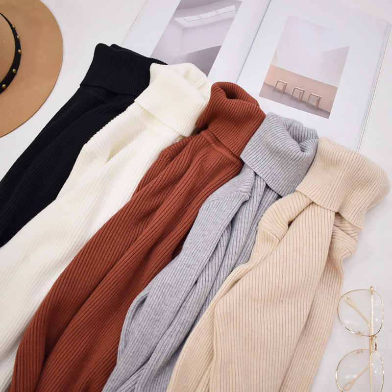 Fall 2019 Turtleneck Knitted Sweater Women Pullovers Autumn Winter Jumpers Knitwear White Red Yellow Black Pink Ladies Sweaters