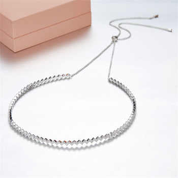 SLJELY Solid 925 Sterling Silver Zigzag Wave Necklace Adjust Chain Up and Down Choker Zircon Choker Women Luxury Party Jewelry - DISCOUNT ITEM  11 OFF Jewelry & Accessories