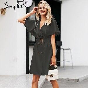 Image 1 - Simplee button Solid increspato manica del vestito delle donne Elegante cinghia del telaio ufficio delle signore trench vestito Con Scollo A V scialle vestito da partito abiti