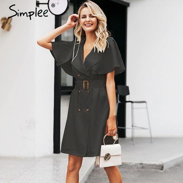Simplee button Solid increspato manica del vestito delle donne Elegante cinghia del telaio ufficio delle signore trench vestito Con Scollo A V scialle vestito da partito abiti