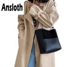 Ansloth Scrub Bucket Bag Lady Panelled Handbag For Women Hit Color Handle Female Fashion Shoulder And Purse HPS712