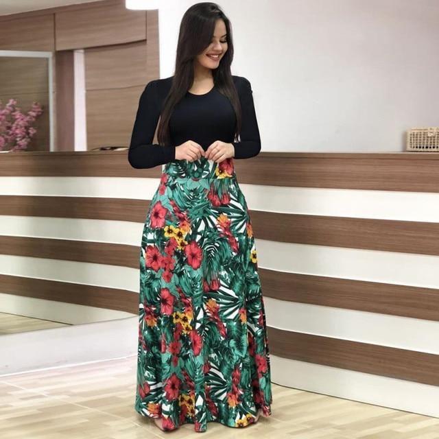 Fashion Casual Maxi Dress Plus Size Bohemian Print Vestidos Mujer Dress Boho Autumn Women Dress Elegant Long Dresses Vestido 5XL 3
