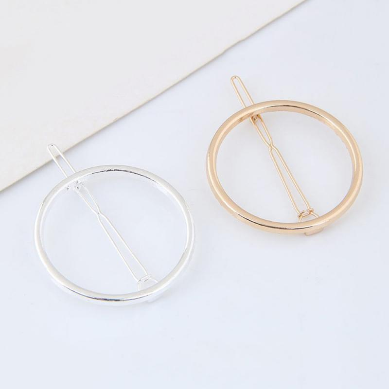 Fashion Woman Geometric Circle Shape Hair Accessories Hair Clip Metal Geometric Alloy Headwear Circle Girls Hairpin Simple