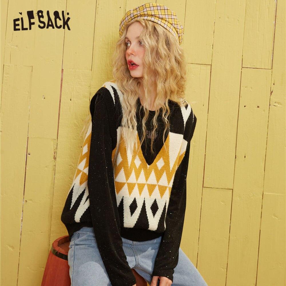ELFSACK Black Argyle Print Knit Pullover Women Sweater Vest 2020 Spring Geometric V Neck Sleeveless Casual Ladies Daily Top