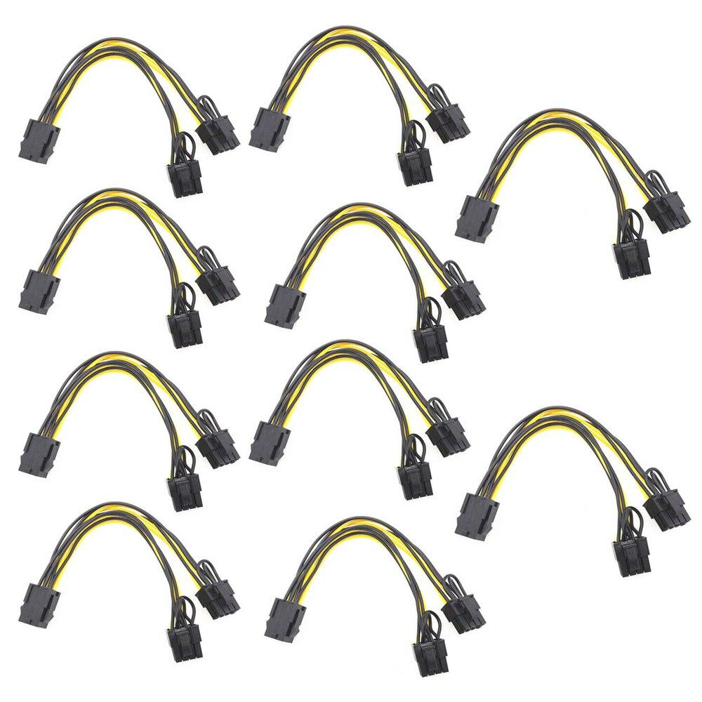 5/10 шт. 6-контактный разъем PCI Express на 2 контакта PCIe 8 (6 + 2), видеокарта для материнской платы, графический процессор PCI-e GPU VGA, разветвитель, кабель...