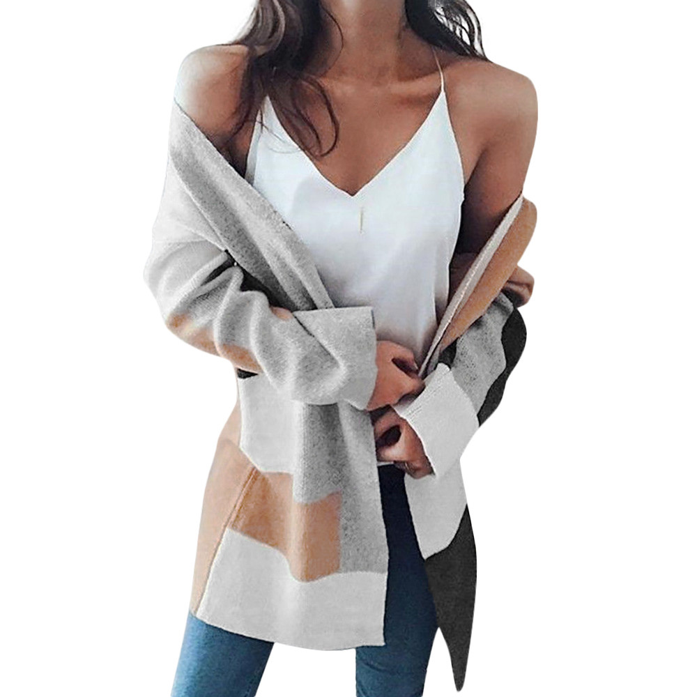 Autumn And Winter New Ladies Knit Plaid Thick Color Block Stitching Jacket Long Cardigan Fashion Coat #XM