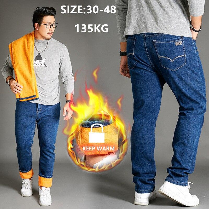 Winter Jeans Men Classic Stretch Straight Blue Trouswers Fleece Velvet Pants Large Size 42 44 46 48 Denim Warm Thick Male Pants