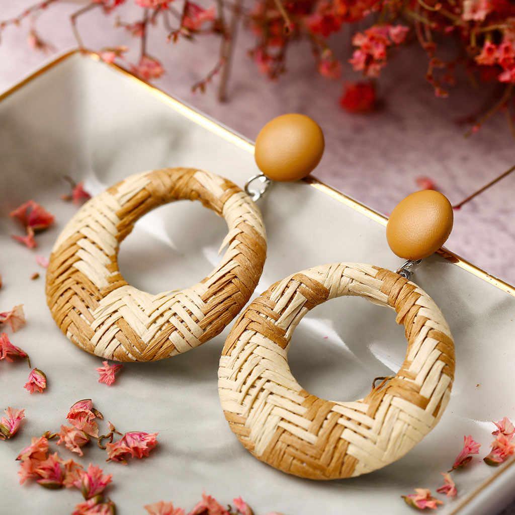 Pendientes de círculo grande Boho aro bohemio madera de bambú de mimbre geométricos pendientes redondos joyería de las señoras pendientes étnicos de fiesta colgante