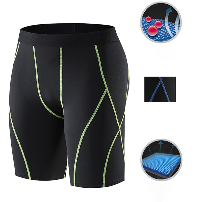 New Men Sports Fitness Microfiber Elastic Shorts Breathable Quick Drying Short Pants Gym Training Running Tights