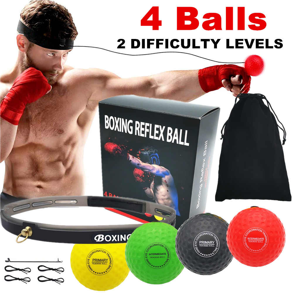 Fastpro Boxing Reflex Ball Boxing Training Ball 3 Difficulty Level Boxing Ball with Headband Suit for Reaction Agility Punching Speed Fight Skill Hand
