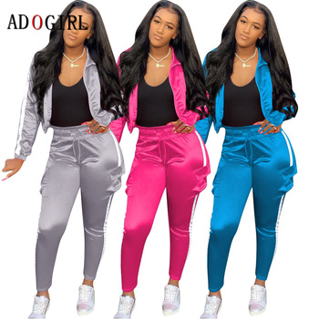 Adogirl Fashion Fitness Tracksuits Women Active Wear 2 Piece Set Casual Workout Jacket + Long Pants Sport Suit Winter Matching