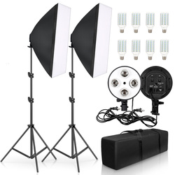 Photography 50x70CM Four Lamp Softbox Kit Continuous Lighting System Soft Box Accessories Photo Studio Equipment