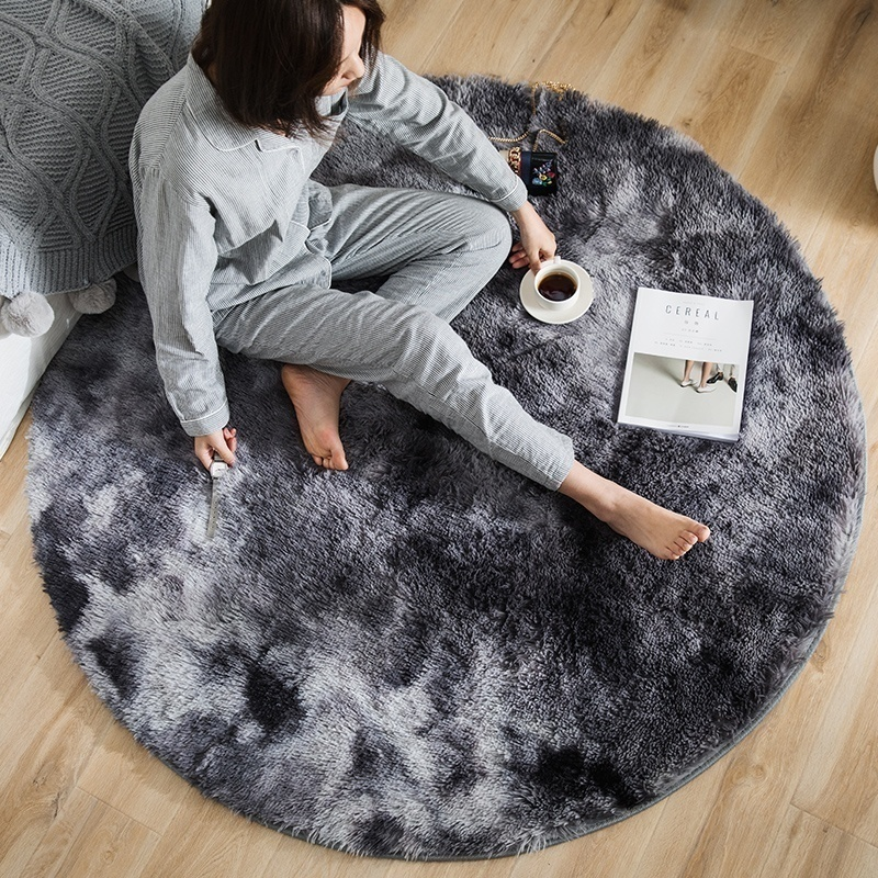 Fluffy Round Light Grey Rug Carpets For Living Room Decor Faux Fur Carpet Kids Long Plush S Bedroom Shaggy Area Tie Dyeing