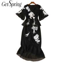GetSpring Women Dress V Neck Flare Sleeve Vintage Dress Embroidery Lace Maxi Dresses Temperament Mermaid Long Dresses Black 2019(China)