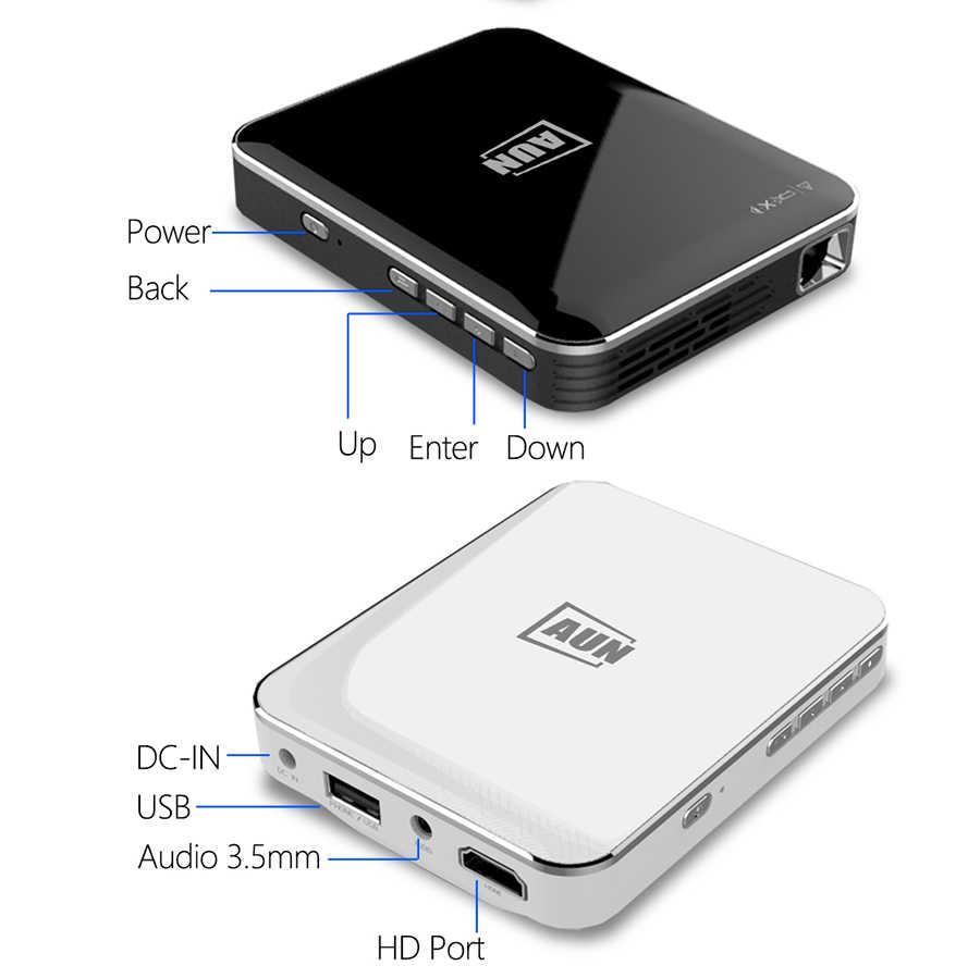 AUN MINI proyector 2 horas de tiempo de espera teléfono inteligente pantalla espejo para casa cine HDMI 1080P portátil 3D proyector X3