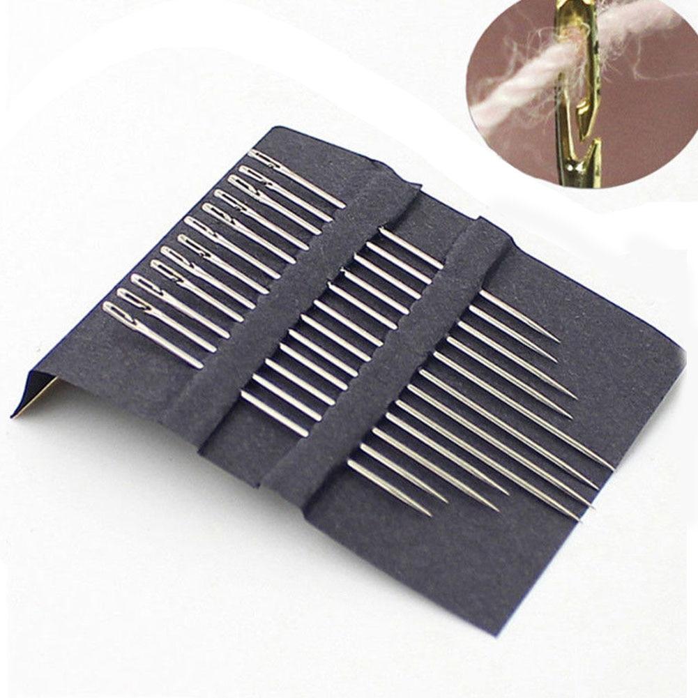 12pcs/set Elderly Needle-side Hole Blind Needle Stainless Steel Darning Sewing Needless Multi-size Side Opening Household Tool