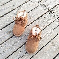 2020 Brand Australian Kids Genuine Leather Snow Boots Baby Winter Sheepskin Fur Booties Girls Boys Waterproof Shoes Footwear