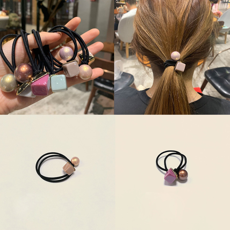 Popular Black Nylon Elastic Hair Bands Love Headband Women Round Square Rubber Band Lady Hair Accessories Scrunchie Ponytail