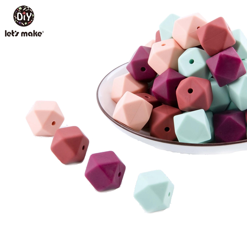 Let'S Make 10Pc Newborn Baby Silicone Beads 14Mm Food Grade Teething Beads Kids Diy Making Hexagon Teether For Infants Baby Toys