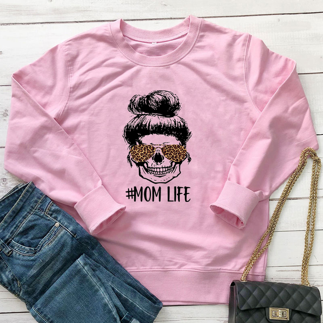 Colored Leopard Mom Life Sweatshirt Fashion Women Long Sleeve Motherhood Pullovers Funny Mother's Day Gift Sweatshirts Femme 4