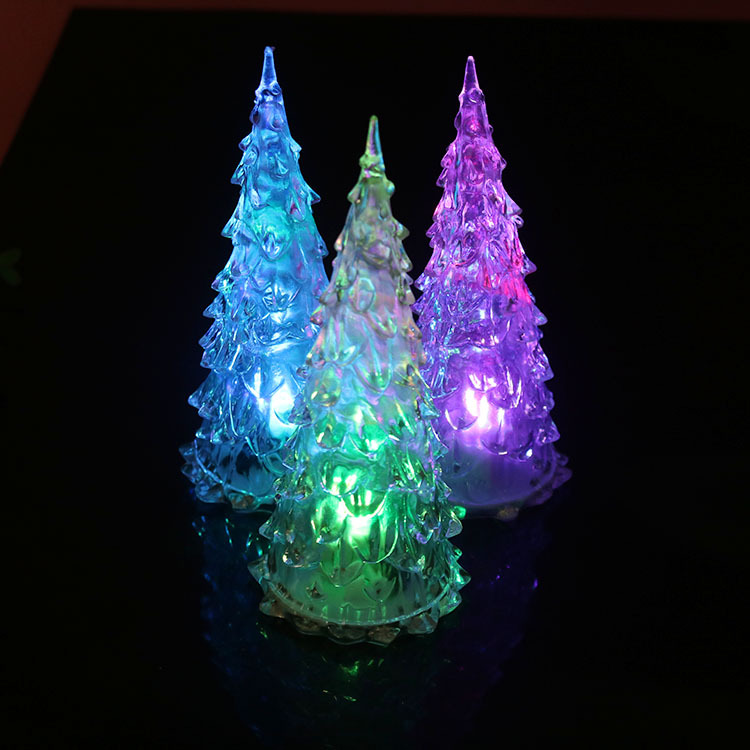 Creative Hot Selling Colorful Color Changing Crystal Acrylic Shining Crystal Christmas Tree Christmas Flash Toy