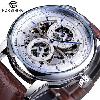 Forsining Skeleton White Dial Automatic Mechanical Watch Brown Genuine Leather Band Waterproof Wristwatch Top Brand Men Watches 2017 forsining china brand men watches dress automatic self wind watch black tourbillion dial imported 316l stainless steel band