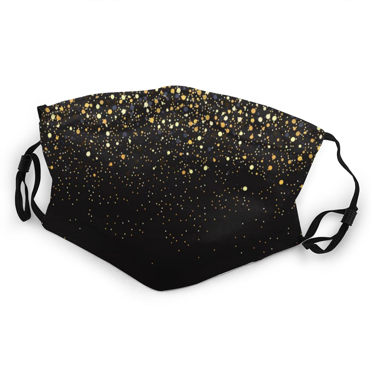 Gold Glitter Black Cool Modern Dust Mask With Filter PM2.5 Activated Carbon For Children Mouth Face Reusable (Kids)