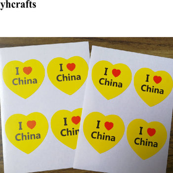 50~100PCS/LOT Yellow heart I love China adhesive stickers Chinese national flag Five-Starred Red flag stickers National day OEM united arab emirates national flag 90 150cm 60 90cm 15 21cm for national day