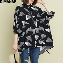 DIMANAF 2020 Plus Size Women Blouse Female Summer Pattern Print Batwing Style La