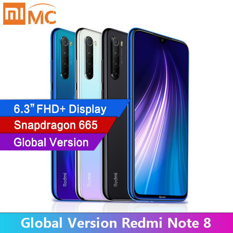 "Global Version Xiaomi Redmi Note 8 4GB RAM Cellphone 48MP Quad Cameras 6.3"" FHD Screen Snapdragon665 MobilePhone 4000mAh(China)"