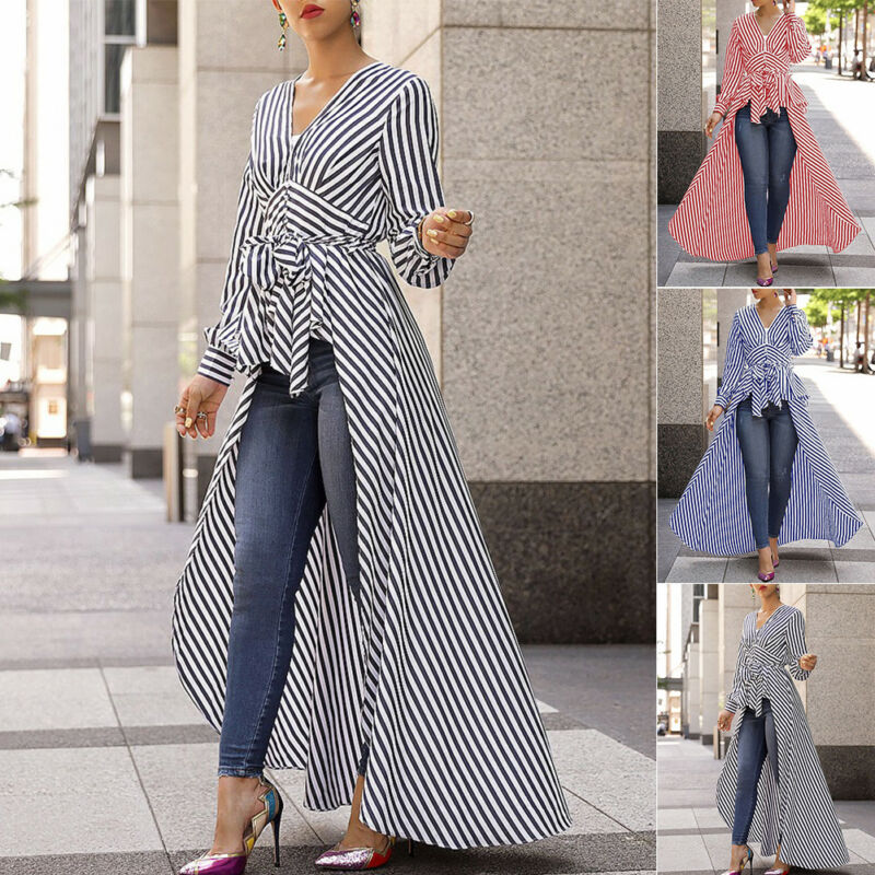 Hot 2020 Spring Autumn Blouse Women Strip Long Shirt Long Sleeve V-neck Dovetail Hem Shirt Lady Office Clothes Plus Size 3 Color