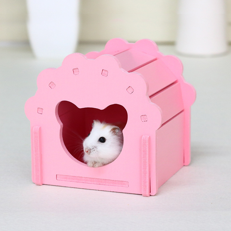 Cute Wood Hamster House Golden Bear  Guinea Pigs Seesaw Timber Cottages Sleeping Nests Cage Decoration Small Pets Hides Cabin