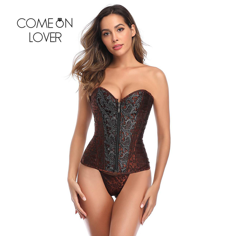 Comeonlover Body Shaper Bustier Corset Zipper Retro Women Cinta Modeladora Waist Training Sexy Patchwork Plus Size Draped AI3436